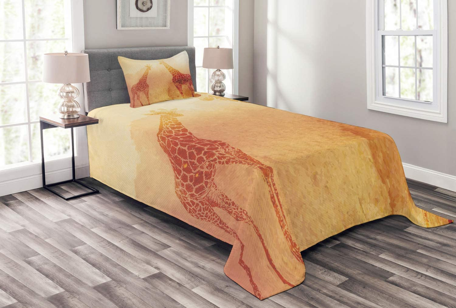 Ambesonne Safari Bedspread, Illustration Tropic Giraffes Tallest Neck Animal Mammal in Retro Vintage Print, Decorative Quilted 2 Piece Coverlet Set with Pillow Sham, Twin Size, Orange