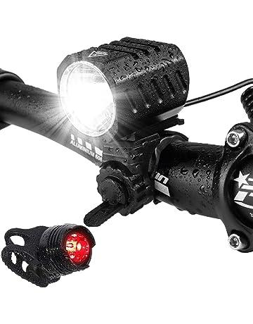 Luz Bici,Lacyie Luces Bicicleta Delantera y Trasera LED Linterna Bicicleta USB Recargable Pilas,Luz Trasera Bicicleta Potente IP65 Resistente 4 Modes Luces Bicicleta para Carretera y Monta/ña Set