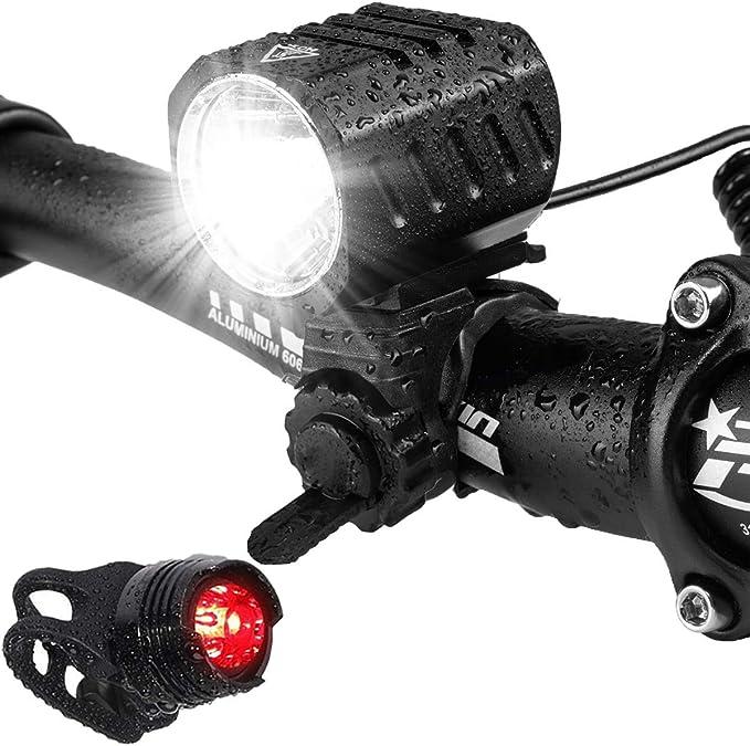 Luces Bicicleta, LED Luz Bicicleta Impermeable,Luz de Bici Recargable USB, Al Aire Libre Luces Bici Delantera and LED Luces Trasera Kit,1200 Lúmenes ...