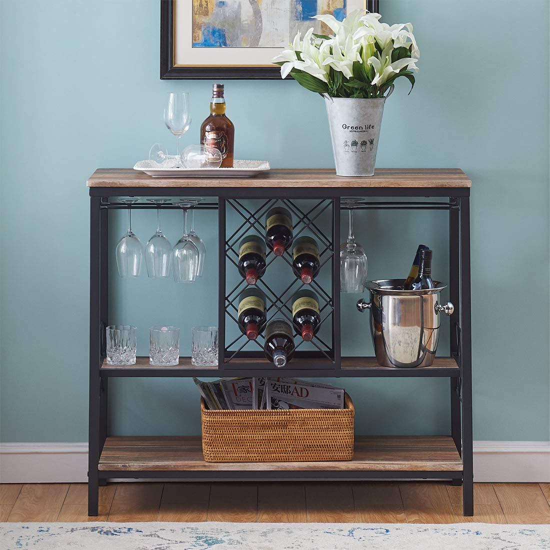 O K Furniture Industrial Wine Rack Table With Glass Holder Console