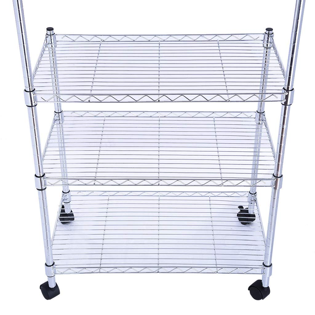 ChainSee Multi-Function Storage Rack, 3-Layer Microwave Rack Storage Rack with Four-Wheel Storage Rack with Spice Rack by ChainSee (Image #6)