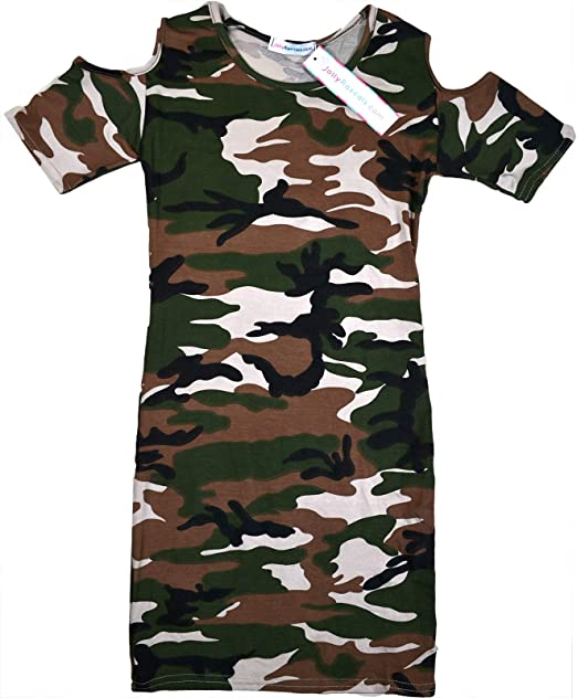 Girls Kids Cold Shoulder camouflage Top and Leggings Age 5 6 7 8 9 10 11 12 13