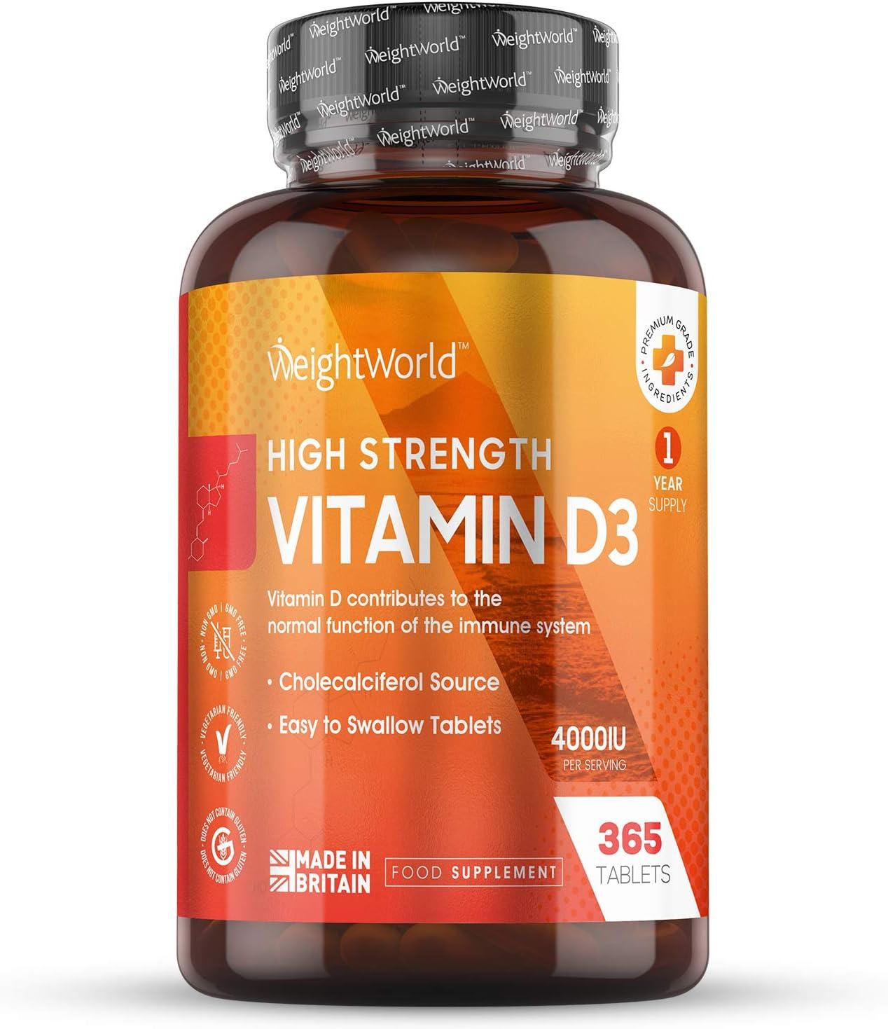 Vitamina D3 4000 UI Dosis Alta - 365 Días de Suministro, Estimula Sistema Inmunitario, Mejora Absorción de Calcio y Salud de Piel, Huesos y Articulaciones, 365 Comprimidos Vitamina d3 Colecalciferol