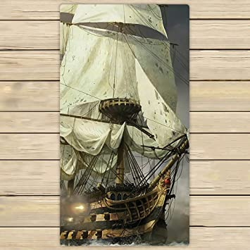 Custom Cool barco pirata toalla de mano, toalla de Spa, playa toallas de baño, cuarto de baño cuerpo ducha toalla de baño Wrap: Amazon.es: Hogar