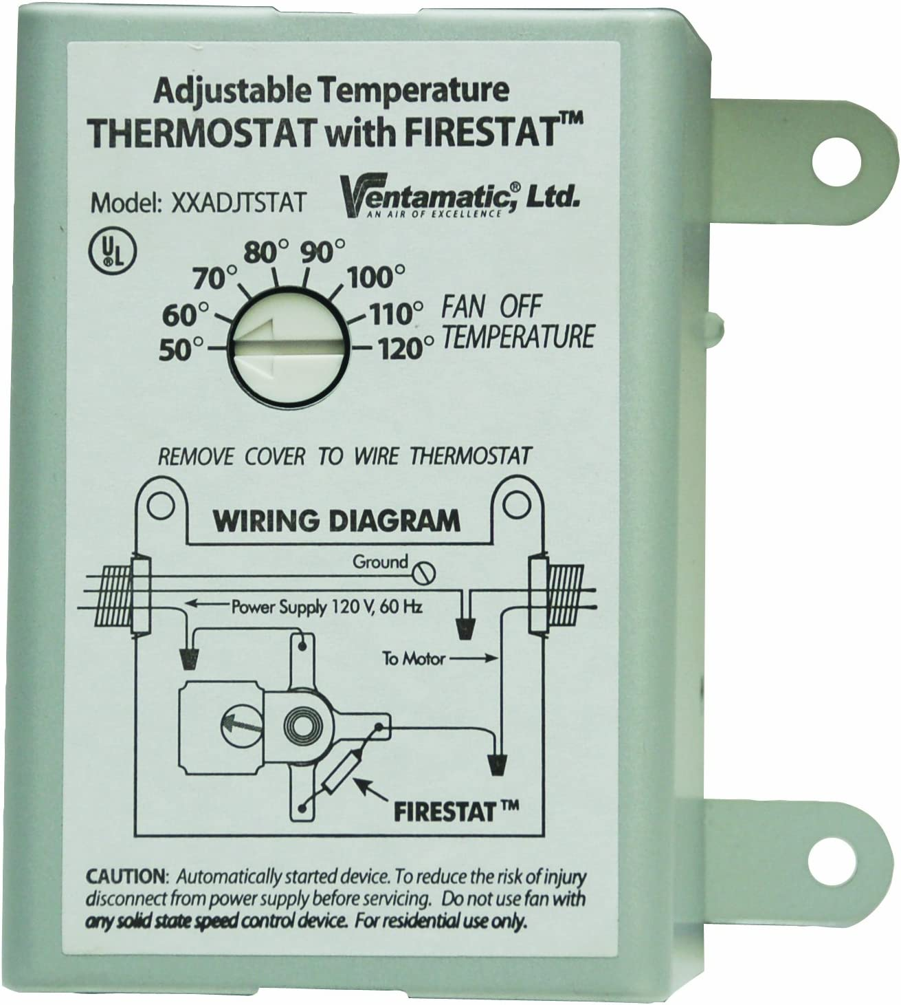 Ventamatic XXFIRESTAT 10-Amp Adjustable Programmable Thermostat with Firestat for Power Attic Ventilators, Replacement Thermostat