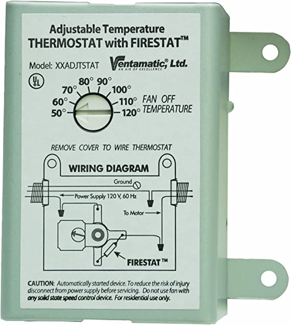 Ventamatic XXFIRESTAT 10-Amp Adjustable Programmable Thermostat with Firestat for Power Attic Ventilators