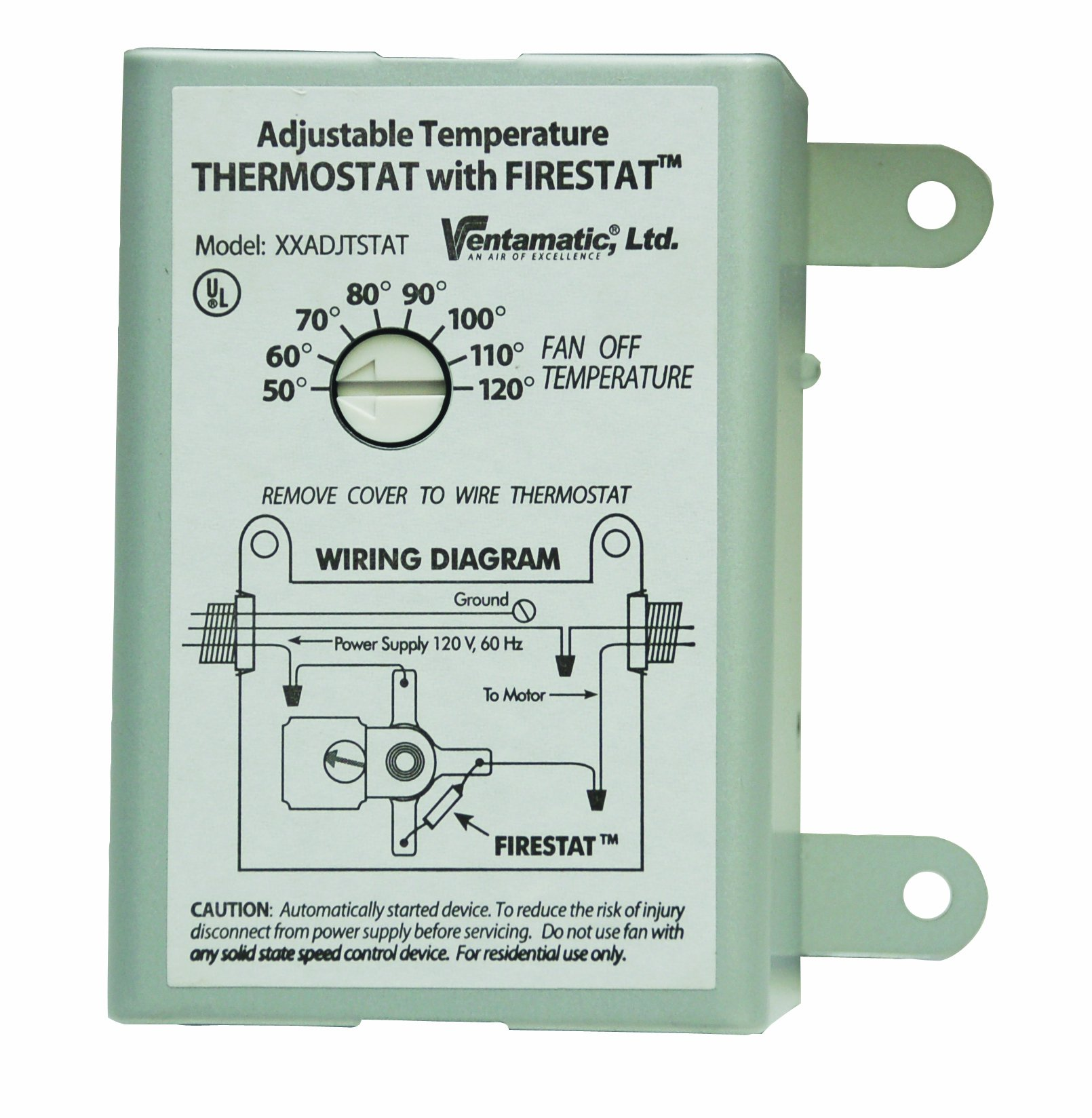 Ventamatic XXFIRESTAT 10-Amp Adjustable Programmable Thermostat with Firestat for Power Attic Ventilators, Replacement Thermostat by Ventamatic