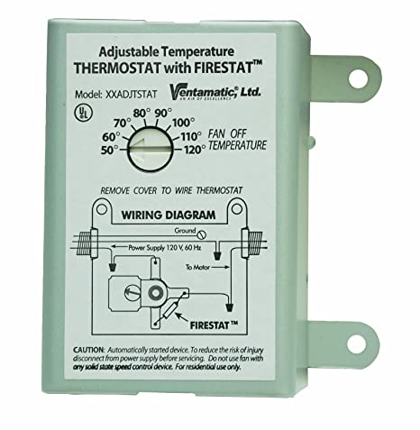 ventamatic xxfirestat 10 amp adjustable programmable thermostat with firestat for power attic ventilators, replacement thermostat (�w� ���k) Heating Cooling Thermostat Wiring Diagram