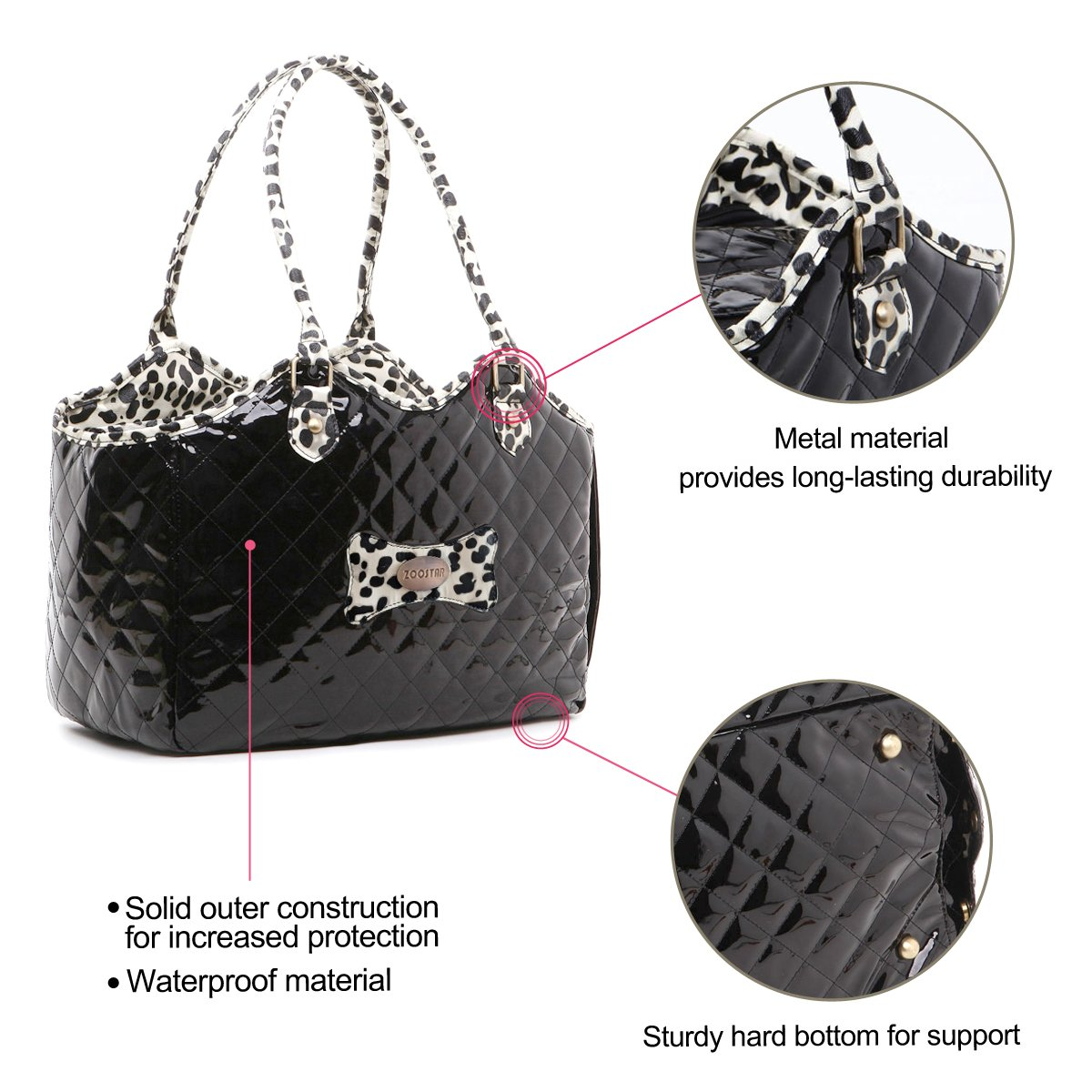 Dog Carrier Purse Pet Travel Bag Cat Portable Handbag,Soft Sided Tote with 2 Fleece Pads for Small Pets,Come with a Pet Comb,Up to 15lbs,Easy to Storage,Go Hiking Shopping with Your Doggy (black) by ZOOSTAR (Image #8)