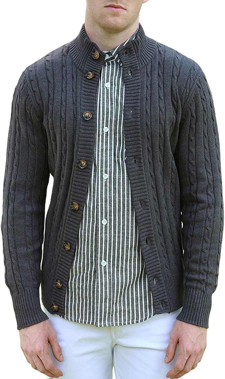 uxcell Men Stand Collar Long Sleeves Cable Knit Single Breasted Cardigan