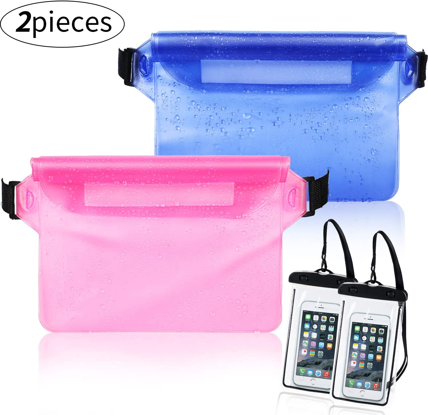 Weewooday 2 Pieces Waterproof Waist Pouch and 2 Piece Black Waterproof Phone Case Dry Bag for Boating Swimming Kayaking Beach Pool Water Parks, Keeping Phone Wallet Safe and Dry (Color Set 2)
