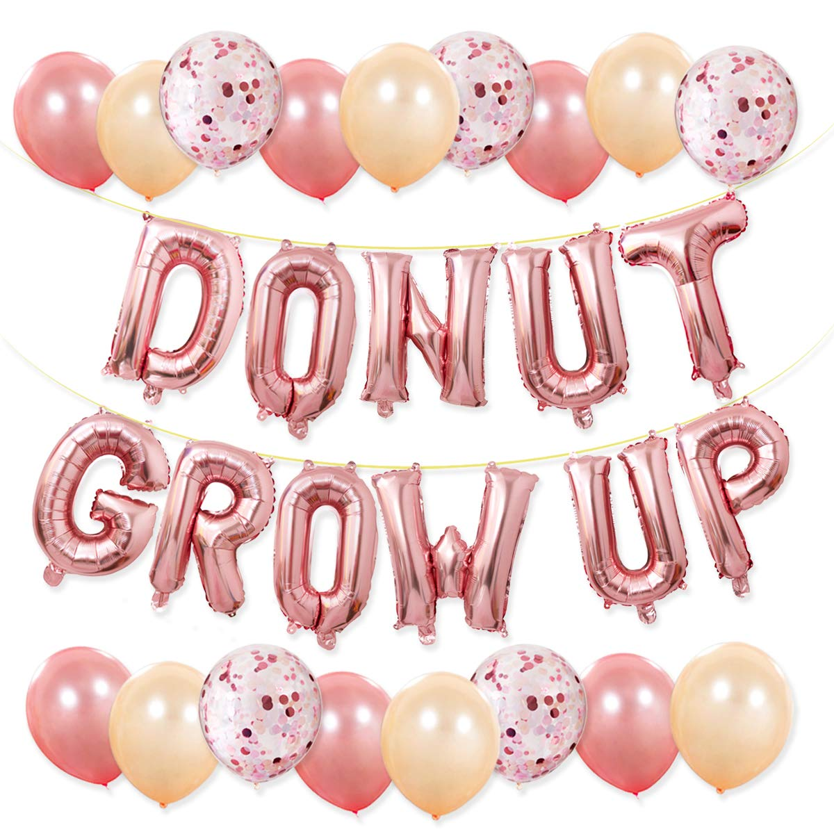 Donut Party Supplies - Donut Grow Up Balloons Banner Rose Gold, 20 Latex Balloons with 5 Confetti Balloons for Baby Shower Donut Grow Up Birthday Party Decorations Haptda