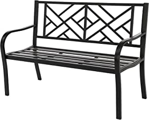 """SUNA OUTDOOR Garden Bench, 50"""" Metal Park Bench Outdoor Porch Chair Bench, with Backrest and Armrest for Yard Lawn Porch Patio, Black"""