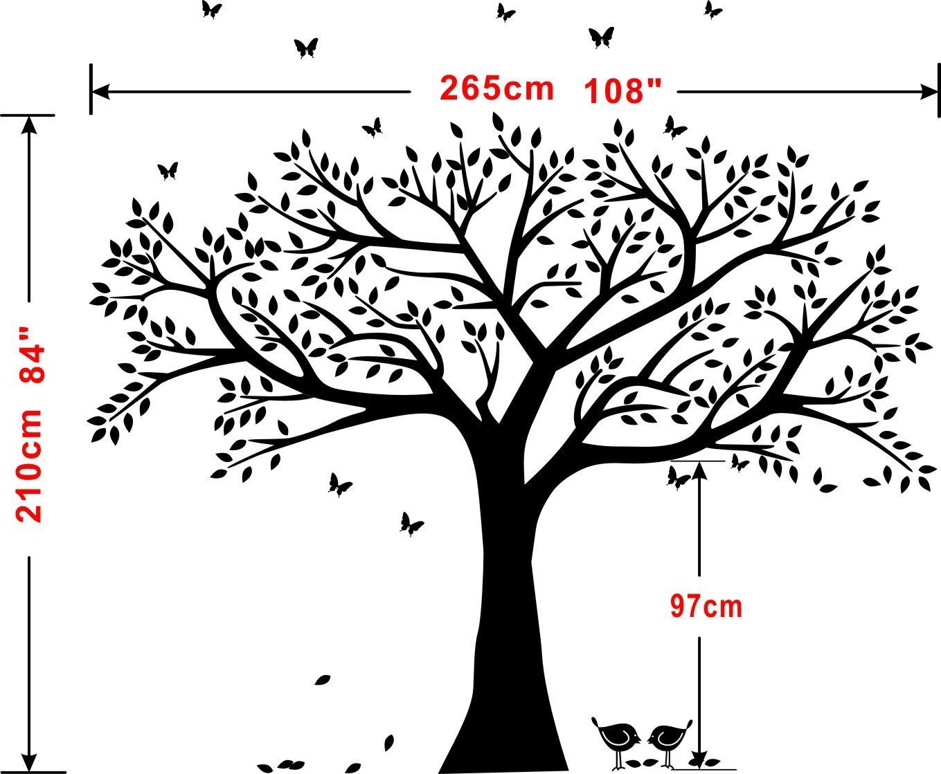 LSKOO Family Photo Frame Tree Wall Decals Family Tree Decal Living Room Home Decor (108'' Wide x 84'' Tall) (Black) by LSKOO (Image #6)