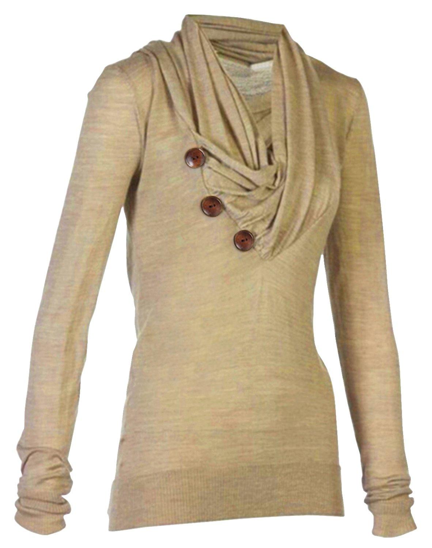 Merryfun Women's Sport Casual Long Sleeve Knitted Draped Button Blouse Top, K L