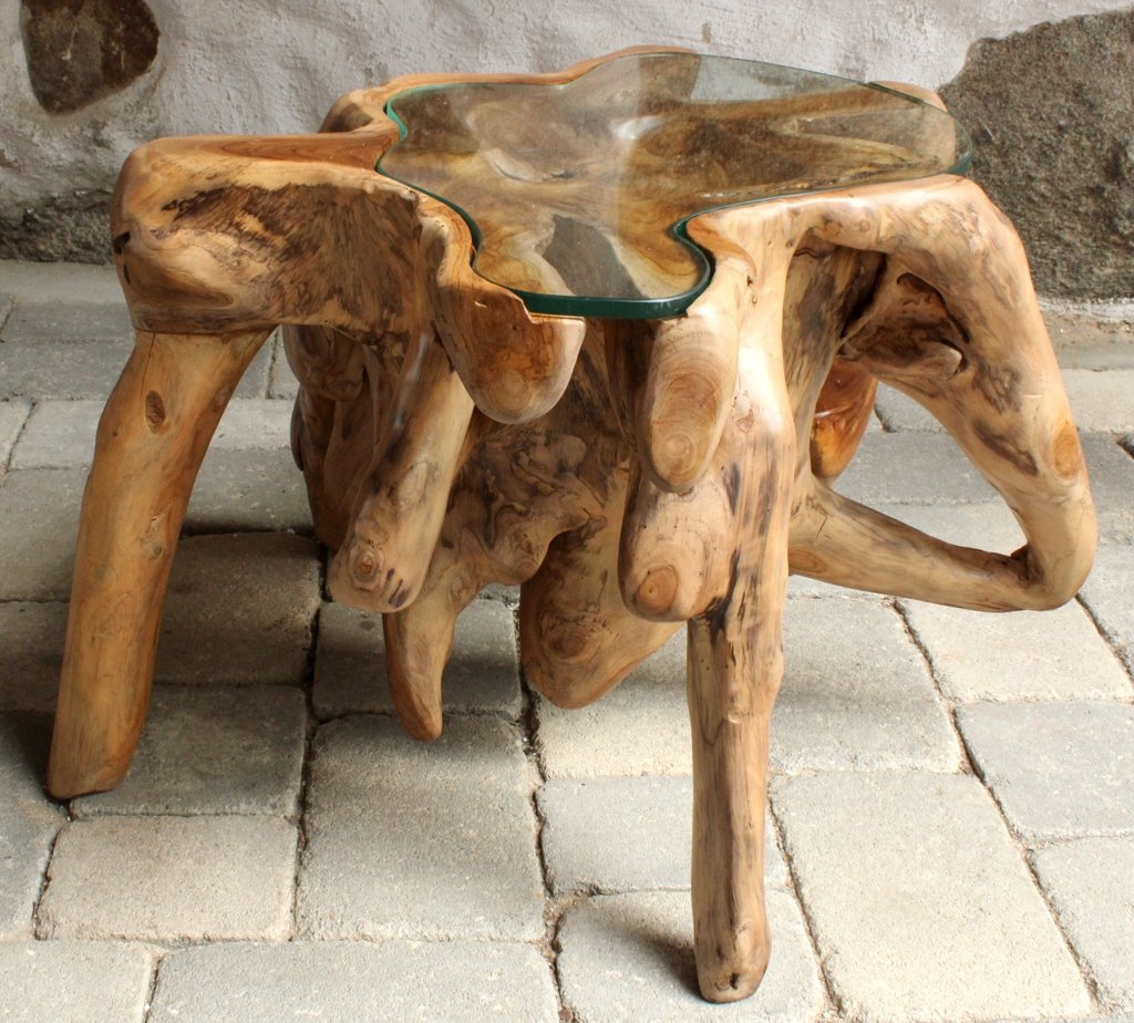 Wurzel-Holztisch ~ SAMBUCA ~ mit Glasplatte - Unikat - H: 45cm L: 70cm B: 67cm (wm510)