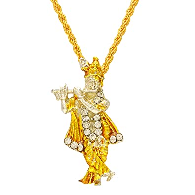 Dzinetrendz gold plated cz lord krishna hindu god locket necklace dzinetrendz gold plated cz lord krishna hindu god locket necklace chain pendant temple jewellery men aloadofball Image collections