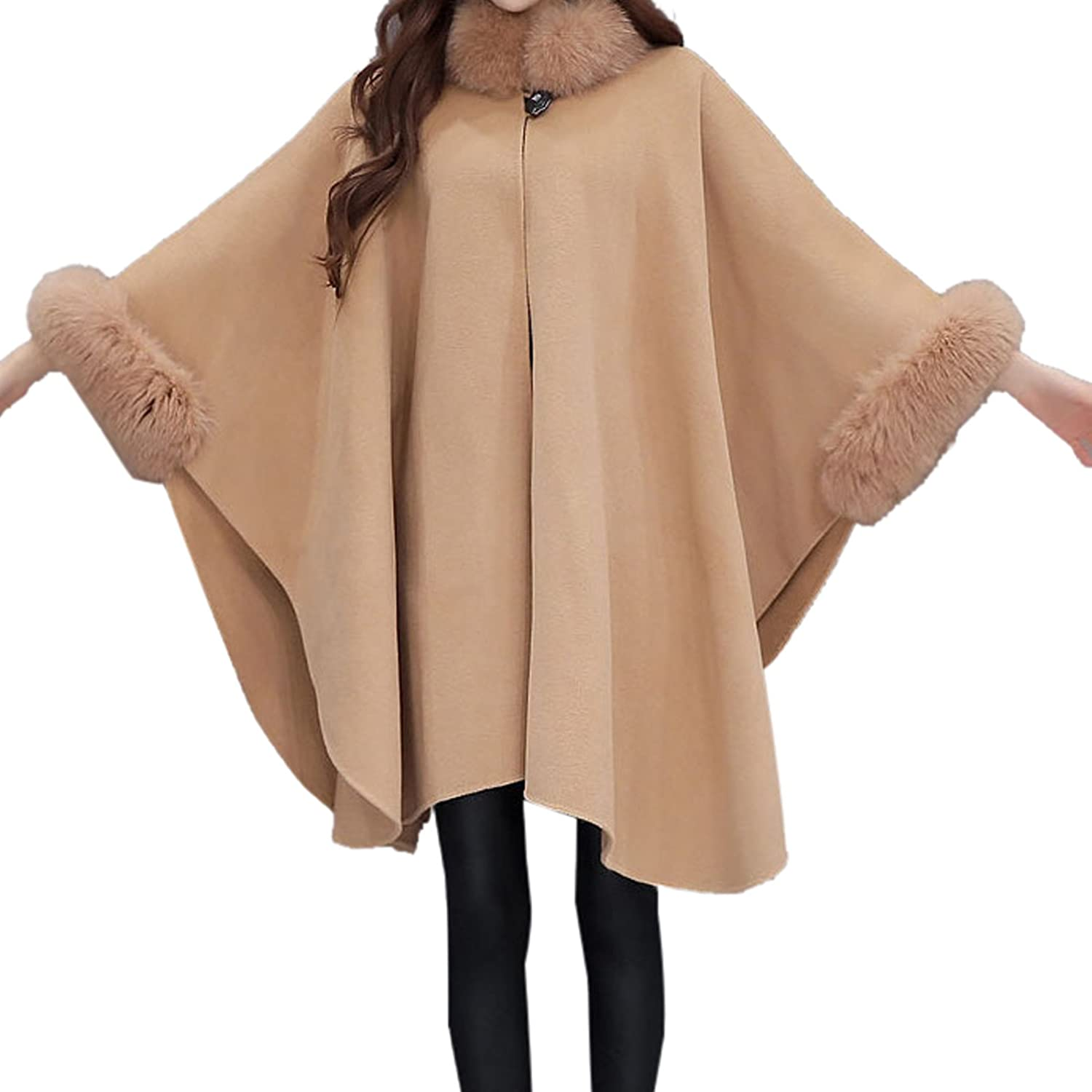 WSLCN Womens Cape Poncho Coat Faux Fur Buckle Collar Coat Bat Sleeve WT0438