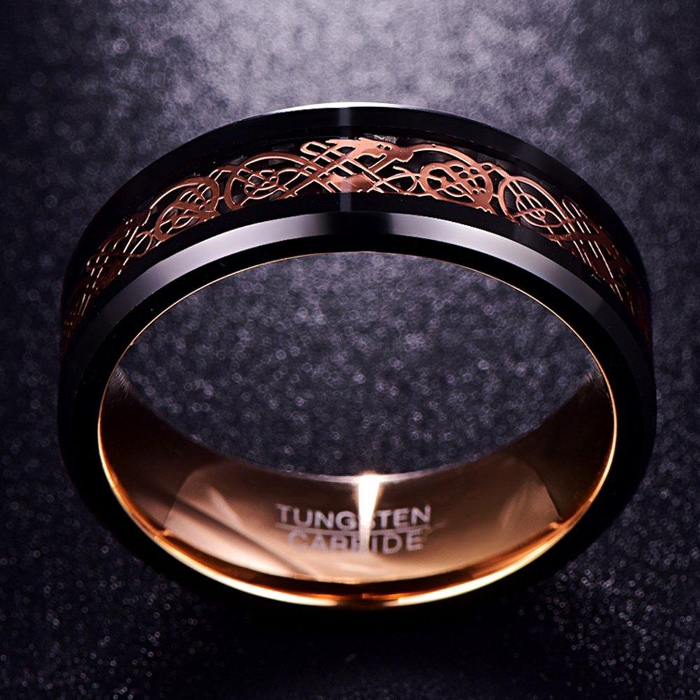 partenariat Gravure Dragon Celtique avec Design Comfort-Fit Poli Nuncad Bague Homme//Femme Or Rose Taille 54 /à 67 Noir fian/çailles Id/éal pour Mariage