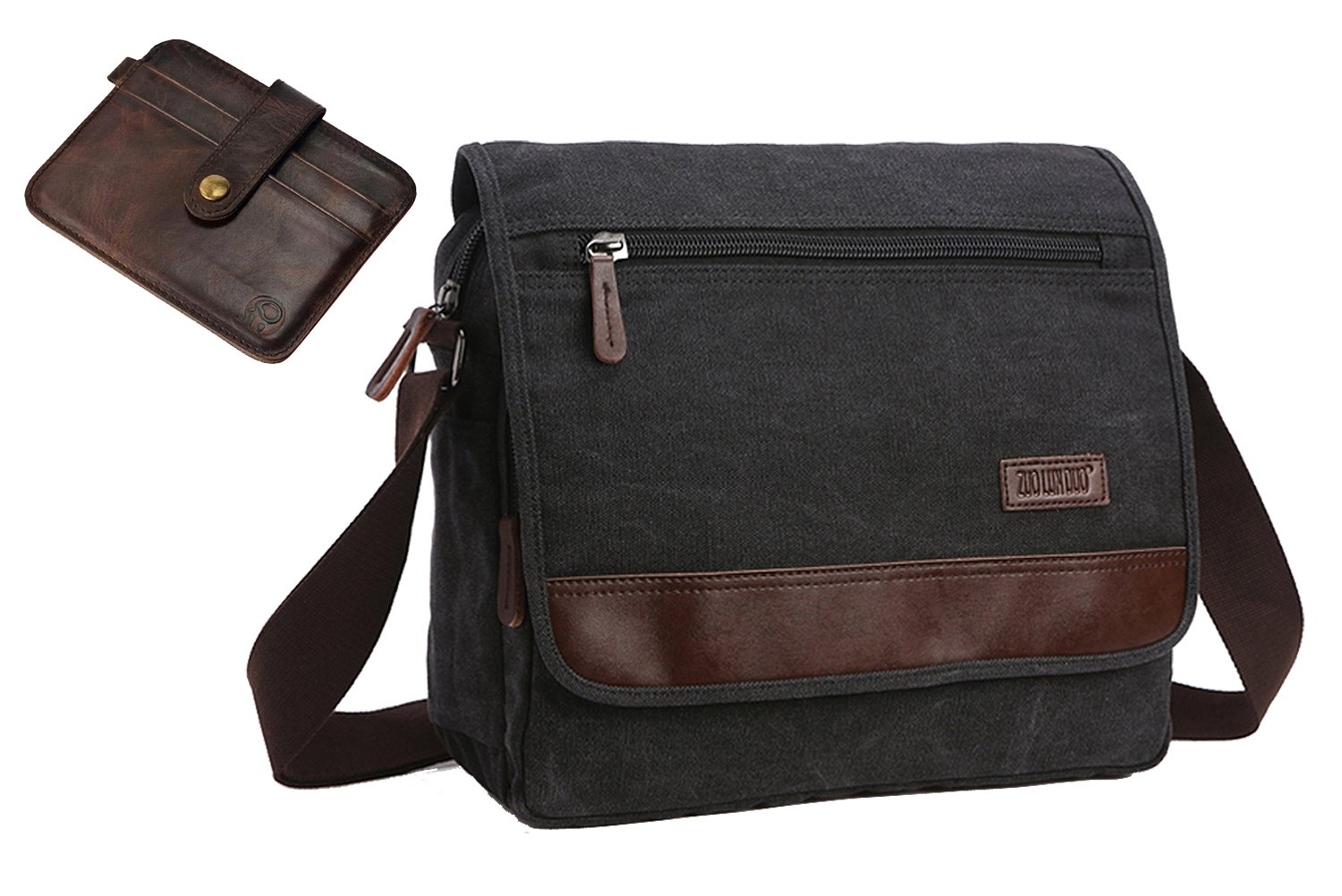 AIBAG Canvas Messenger Bag | Premium Quality Crossbody Bag | Includes BONUS Slim Wallet