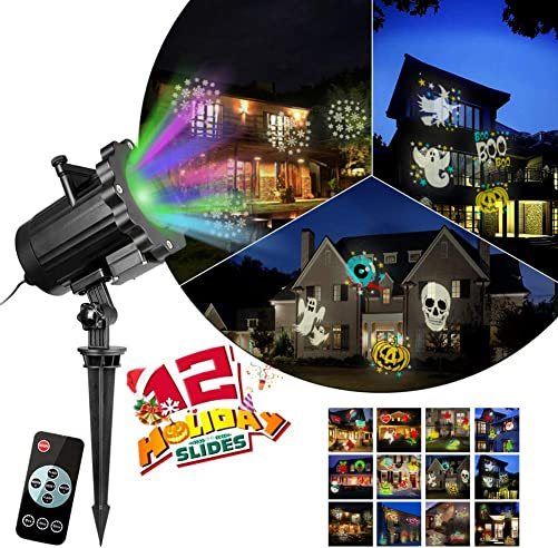 POPVCLY Christmas Halloween Projector Lights Outdoor,12 Slides Patterns Projector Lights with Remote Control,16.4ft Power Cable,IP65 Waterproof, Projection Lamp for Outdoor Indoor Holiday Decoration