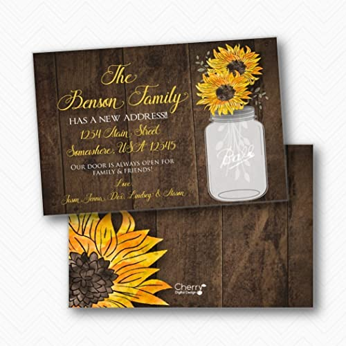 amazon com rustic wood sunflower moving announcement printed