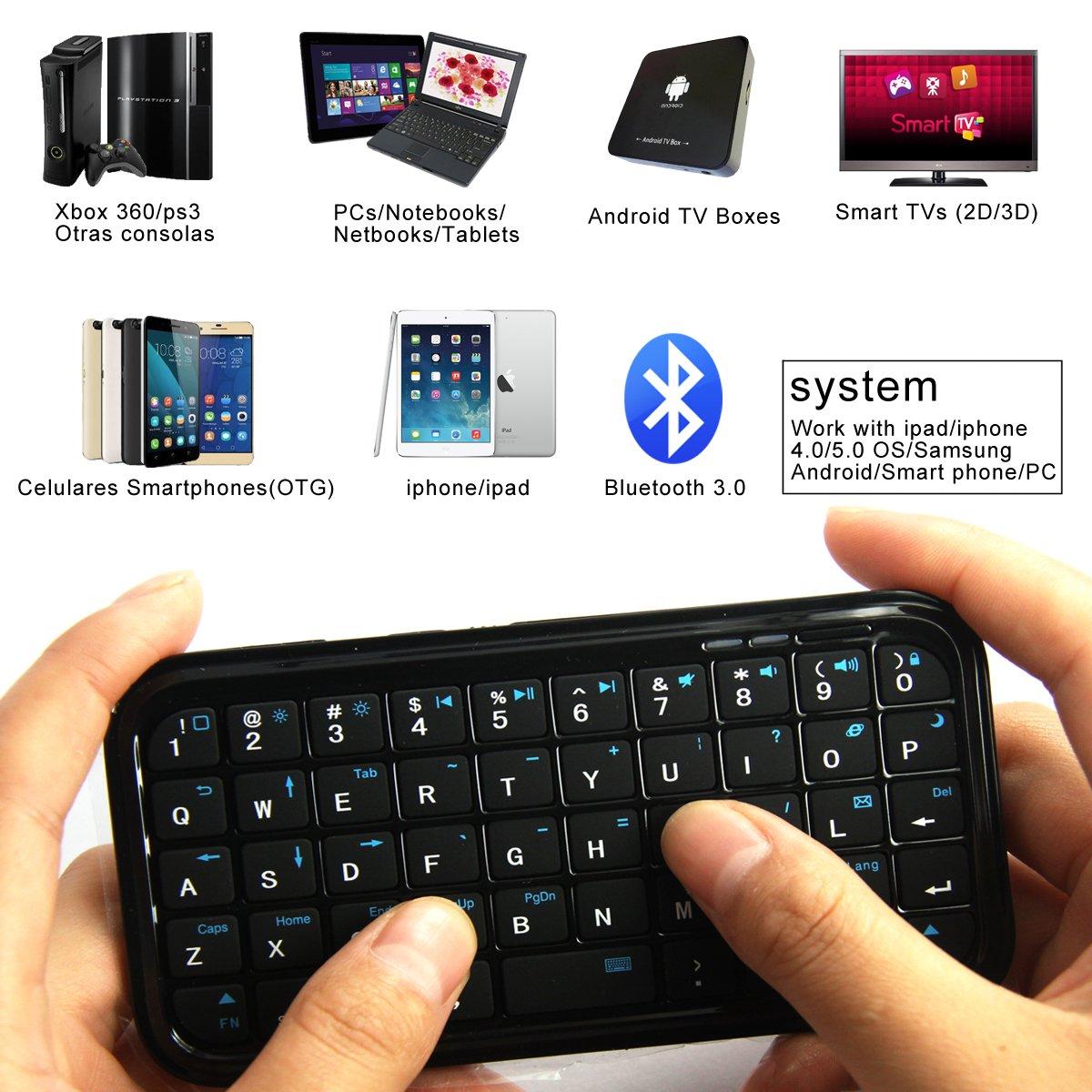 BK103 Mini Teclado inalámbrico para Movíles Teléfonos iPhone BQ Samsung Color Negro: Amazon.es: Electrónica