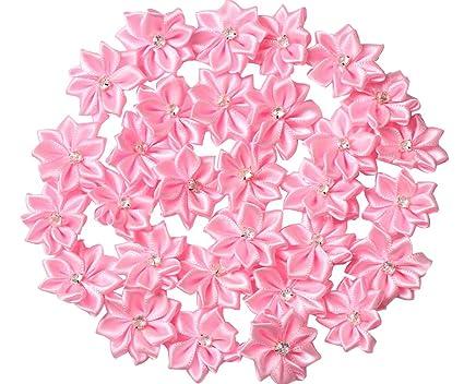 Amazon yaka 60pcs pink satin ribbon flowers bows rose w yaka 60pcs pink satin ribbon flowers bows rose wrhinestone appliques craft wedding ornament 11 mightylinksfo