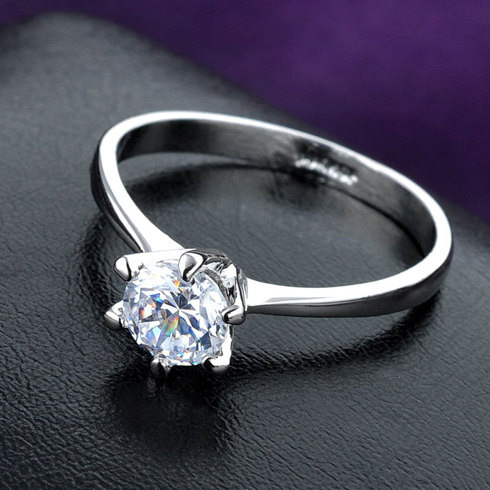 dnswez 18K White Gold Plate Promise Ring CZ Cubic Zirconia Engagement Wedding Rings for Women Girl Size: 8