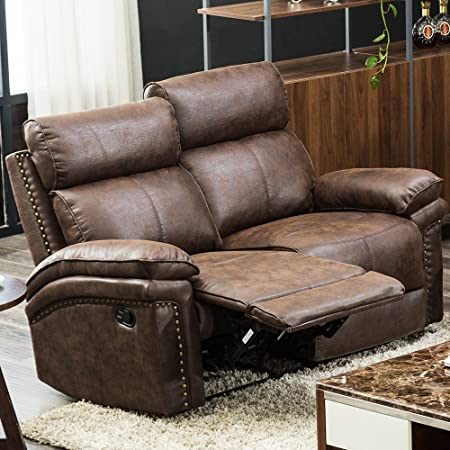Harper Bright Designs Sectional Recliner Sofa Set, Manual Recliner for Living Room, Brown Reclining Loveseat 2 Seater