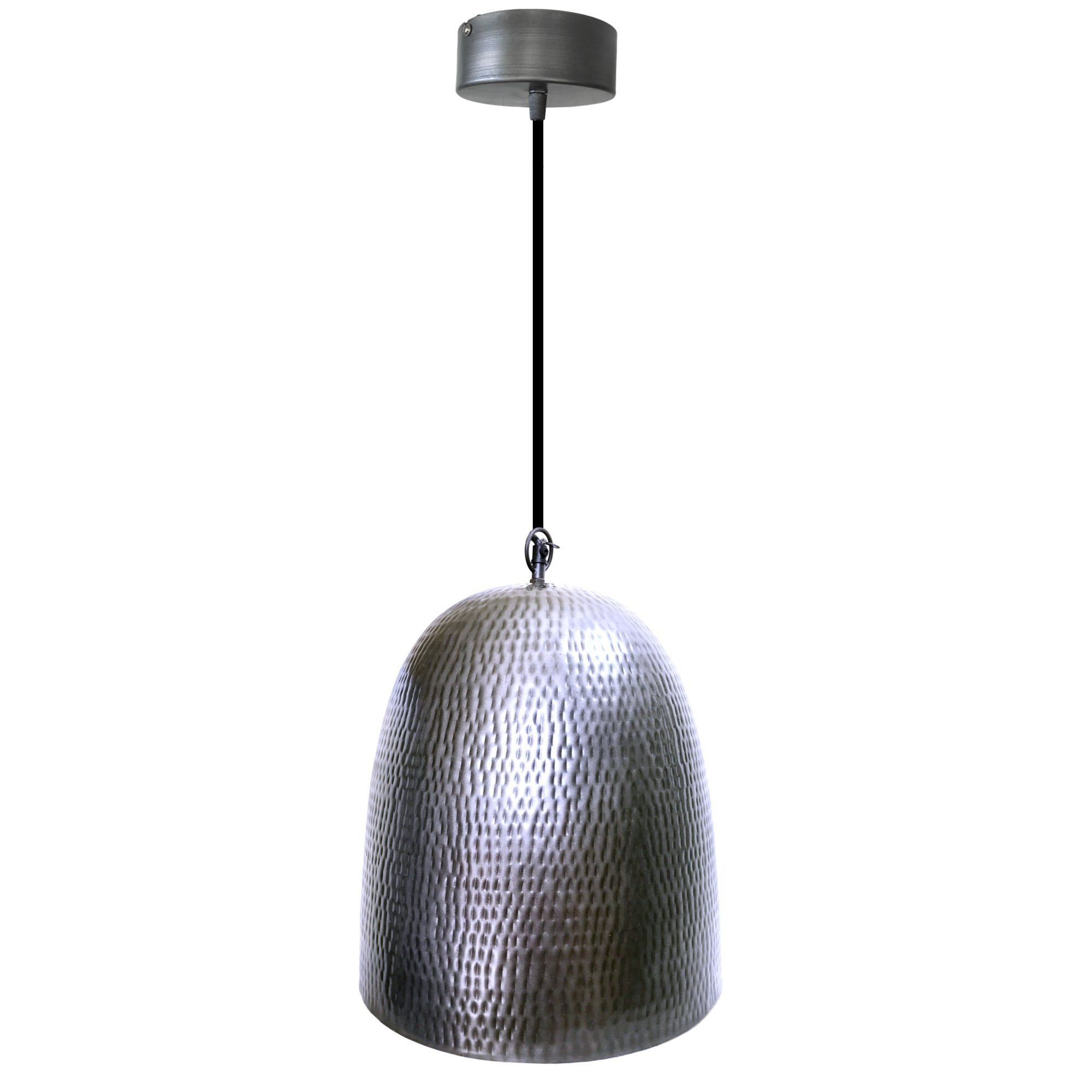 Silver Hammered Ceiling Pendant Light   1 Light, 15'' Rustic Style Fixture by Kauri Design
