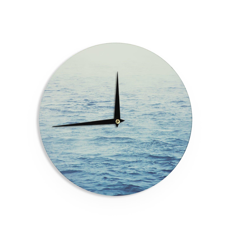 Kess InHouse Debbra Obertanec Foggy Morning Ocean Coastal Blue Wall Clock 12