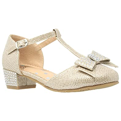 bf1e6b5b87bf Girls Low Heels Pumps T-Strap Bow Accent Glitter Rhinestone Mary Jane Kids  Sandals Gold