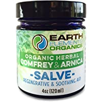 Organic Comfrey & Arnica Salve - Bruised & Sore Muscles. After-Surgery Aid. Minor Burns, Cuts, Scrapes & Wounds. Moisturizes Itching & Dry Skin. 4oz. Made in The USA