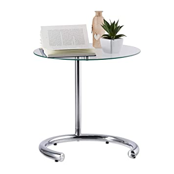 Relaxdays Kaffeetisch Höhenverstellbar Bis 70 Cm Runder Wohnzimmertisch Verchromter Stahl Glasplatte 46 Cm ø Silber