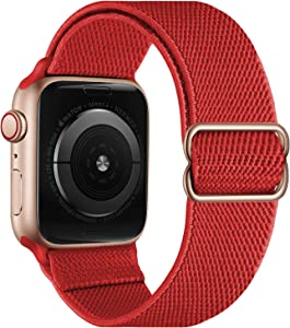 OXWALLEN Stretchy Nylon Solo Loop Compatible with Apple Watch Bands 42mm 44mm, Adjustable Elastic Braided Stretches Women Men Strap for iWatch SE Series 6/5/4/3/2/1,Red