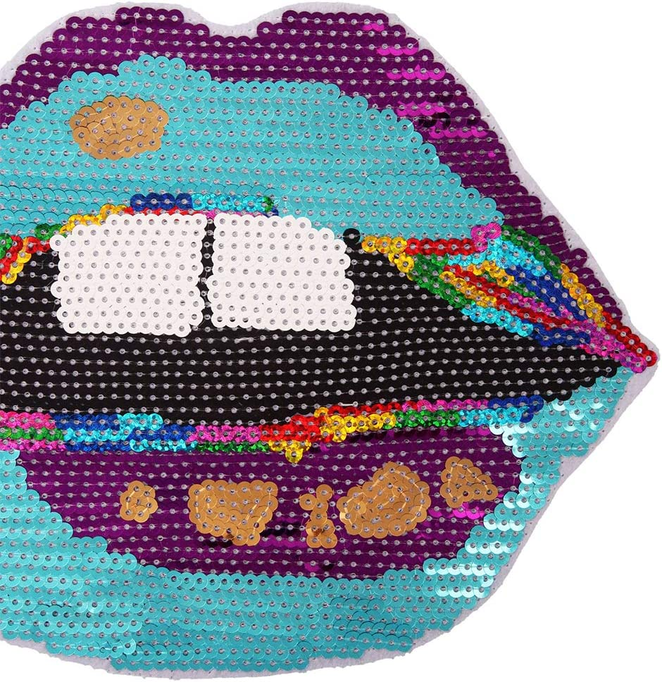 Mouth Patches Sew on Mouth Sequins Patches Embroidered Motif Applique Compatible Clothes Jeans T-Shirt Blue