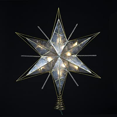 "KSA 15"" Lighted Capiz, Gold and Beaded Star Christmas Tree Topper - Clear Lights"