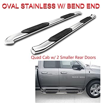 Refineon 3 Round Chrome S//S Running Boards for 2019-2020 Dodge ram 1500 Crew Cab New Body w// 4 Full Doors Nerf Bars Side Steps Side Bars NO 2019 Classic