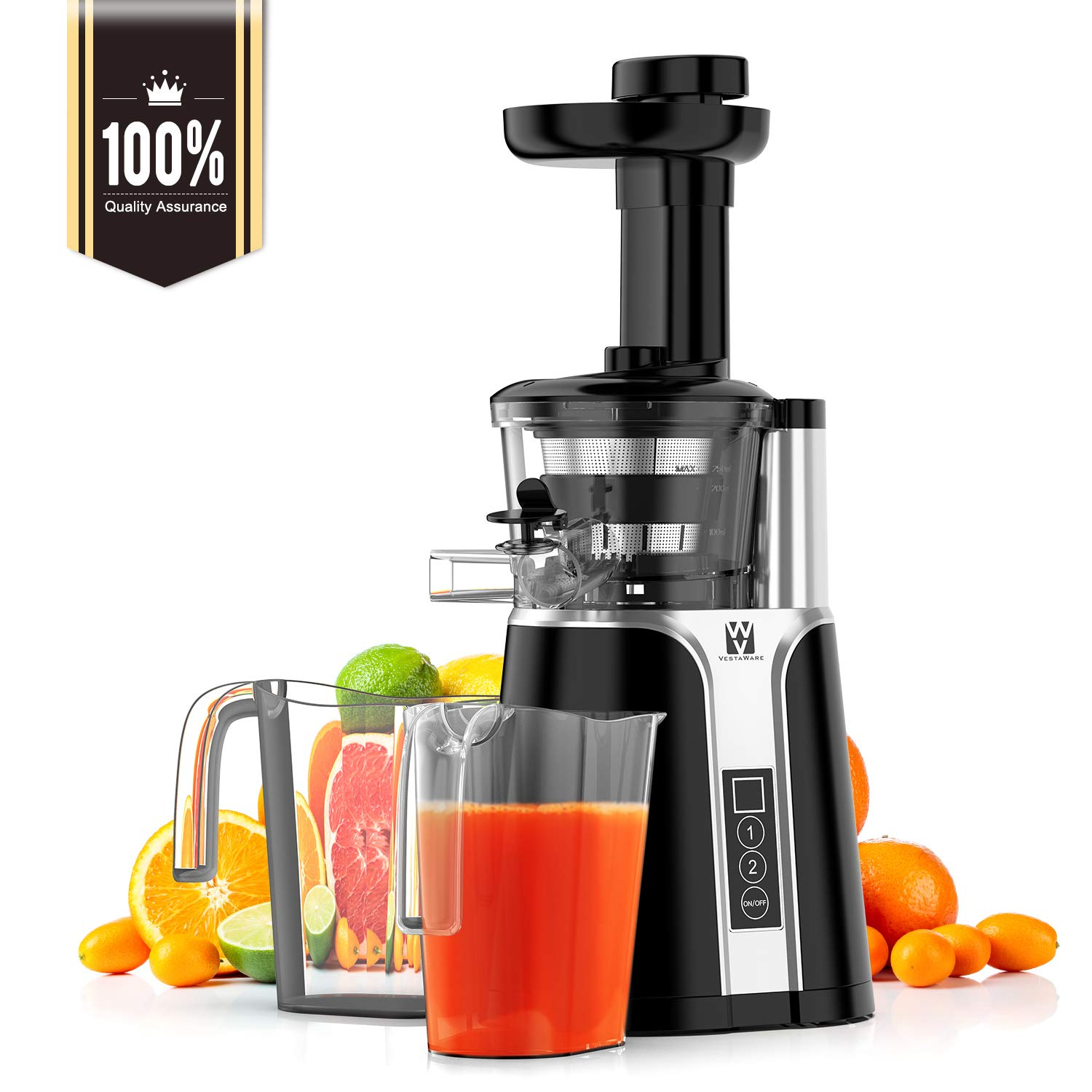 Juicer, Vestaware Slow Masticating Juicer Machines with Two Speed Modes, Easy to Clean Cold Press Juicer with Cleaning Brush for Fruits and Vegetables by Vestaware