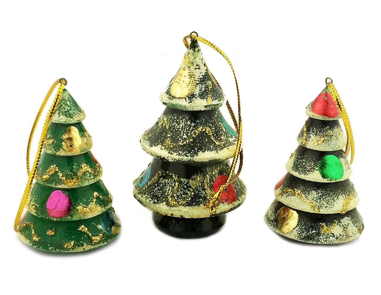 Amazon Com Set Of 3 Hand Painted Russian Wood Christmas Tree