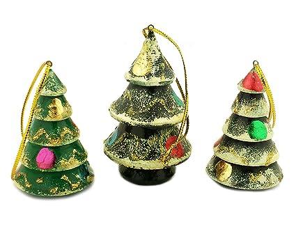 Amazoncom Set Of 3 Hand Painted Russian Wood Christmas Tree