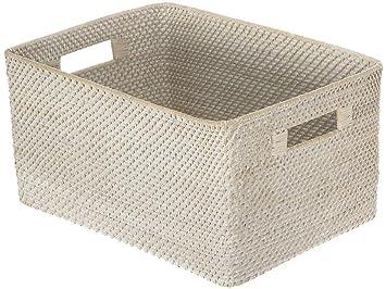 KOUBOO Laguna Rectangular Rattan Storage Basket, White Wash