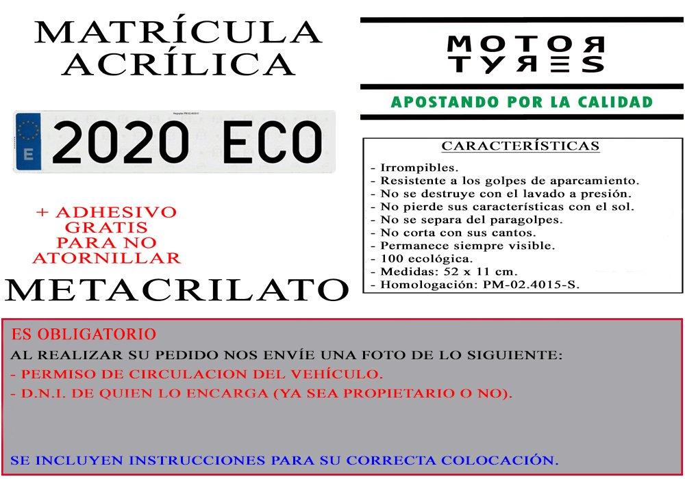 Amazon.es: 2 MATRICULAS ACRILICAS METACRILATO + Adhesivos para Colocar SIN ATORNILLAR Gratis Medida MATRICULA 52x11cm Coche NIKKALITE POLICARBONATO 100% ...