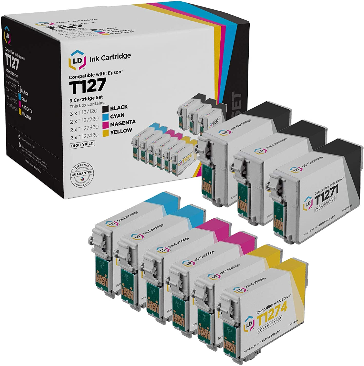 LD Remanufactured Ink Cartridge Replacement for Epson 127 Extra High Yield (3 Black, 2 Cyan, 2 Magenta, 2 Yellow, 9-Pack)