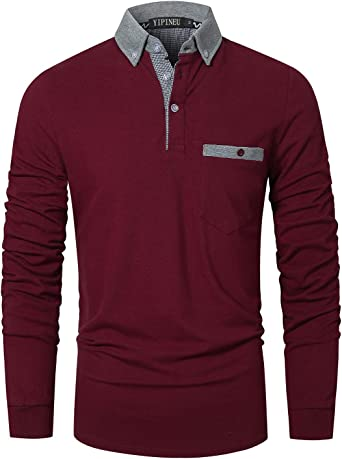 YIPIN Casual Polo Manga Larga Hombre Algodón Camiseta Cuello de Color Contraste Negocios Golf T-Shirt: Amazon.es: Ropa y accesorios