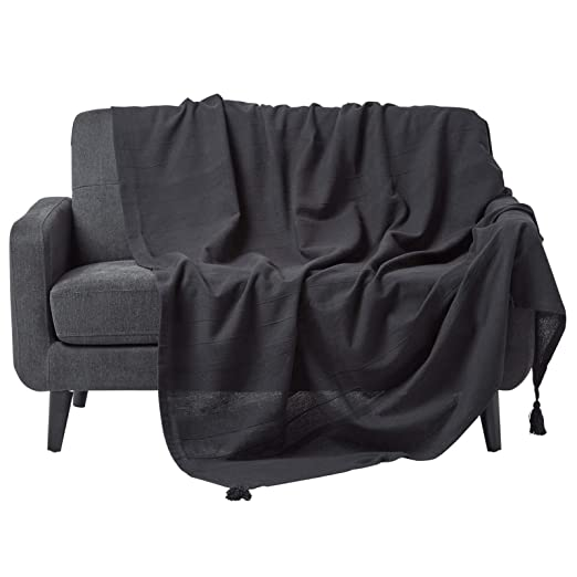 HOMESCAPES Funda de sofá/Manta, Hecho a Mano 100% de algodón Estilo de cordoncillo Color Negro 355 x 254 cm
