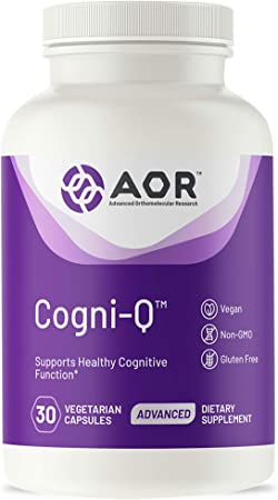 AOR, Cogni-Q, Antioxidant Support for Brain and Mitochondrial Health, Energy, and Healthy Aging with PQQ and CoQ10, Vegan, Non-GMO, 30 Capsules