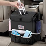 njnj Waterproof Car Trash Can Garbage Bin,Super Large Size Auto Trash Bag for Cars with Lid and Storage Pockets,Leak Proof Ve