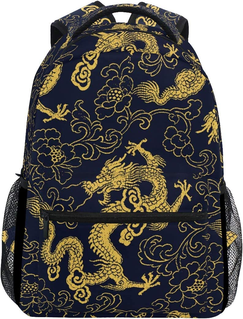 Backpack Chinese Dragon Golden Flower Peony Dark Blue Canvas School Bags Laptop Daypack